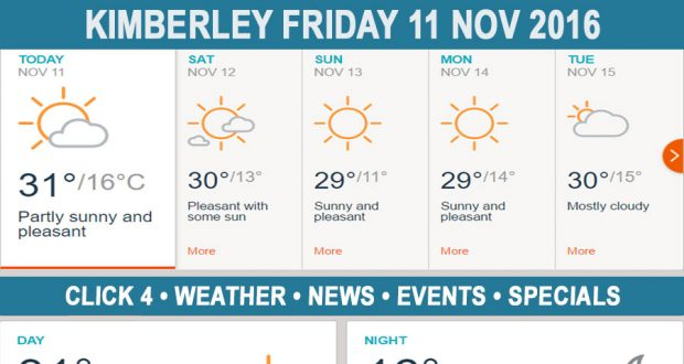 Today in Kimberley South Africa - Weather News Events 2016/11/11