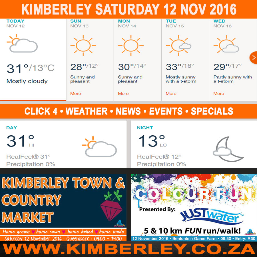Today in Kimberley South Africa - Weather News Events 2016/11/12