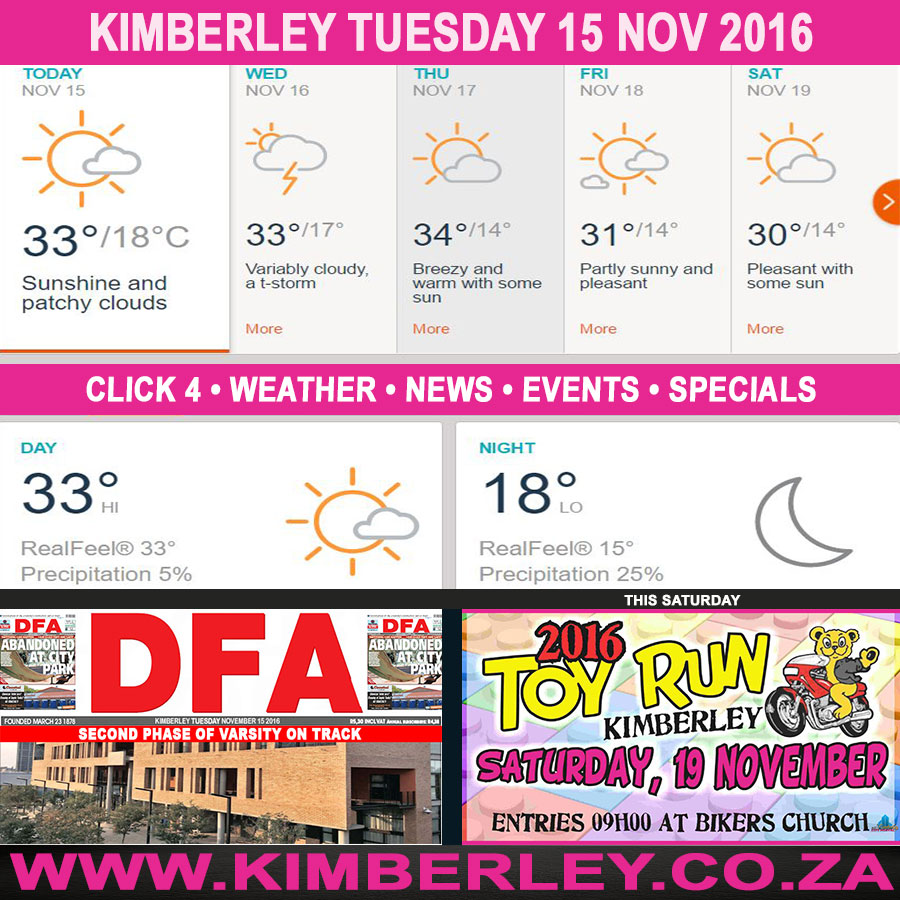 Today in Kimberley South Africa - Weather News Events 2016/11/15