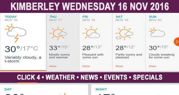 Today in Kimberley South Africa - Weather News Events 2016/11/16
