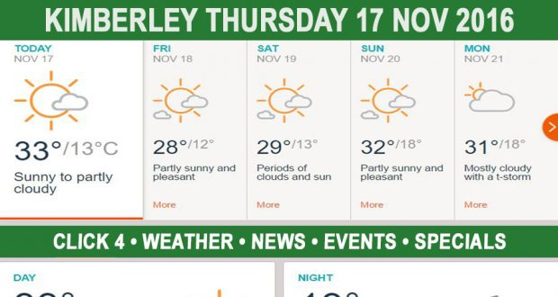Today in Kimberley South Africa - Weather News Events 2016/11/17
