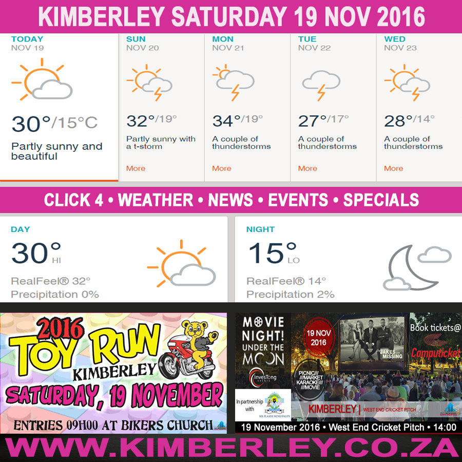 Today in Kimberley South Africa - Weather News Events 2016/11/19