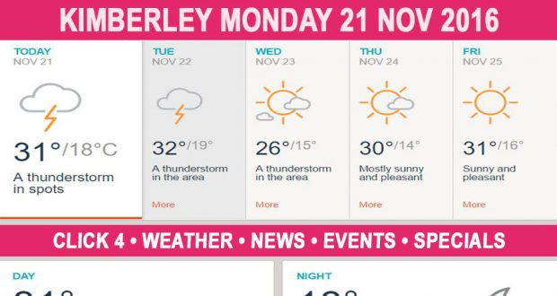 oday in Kimberley South Africa - Weather News Events 2016/11/21