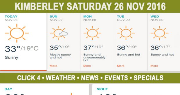 Today in Kimberley South Africa - Weather News Events 2016/11/26