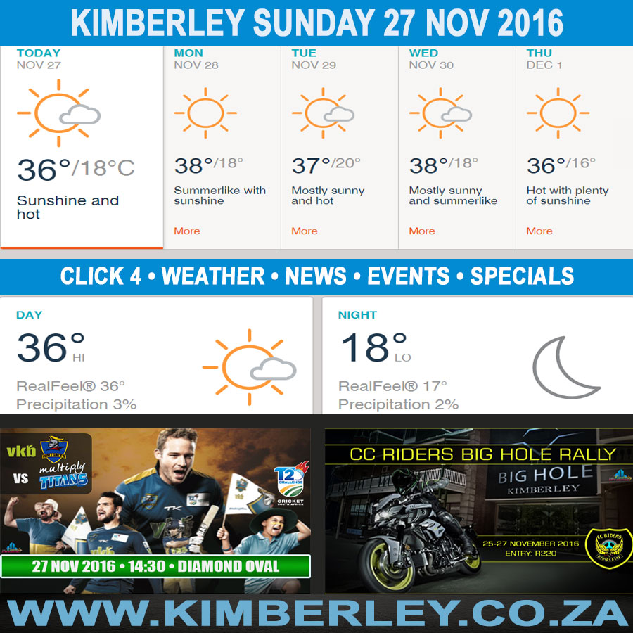 Today in Kimberley South Africa - Weather News Events 2016/11/27