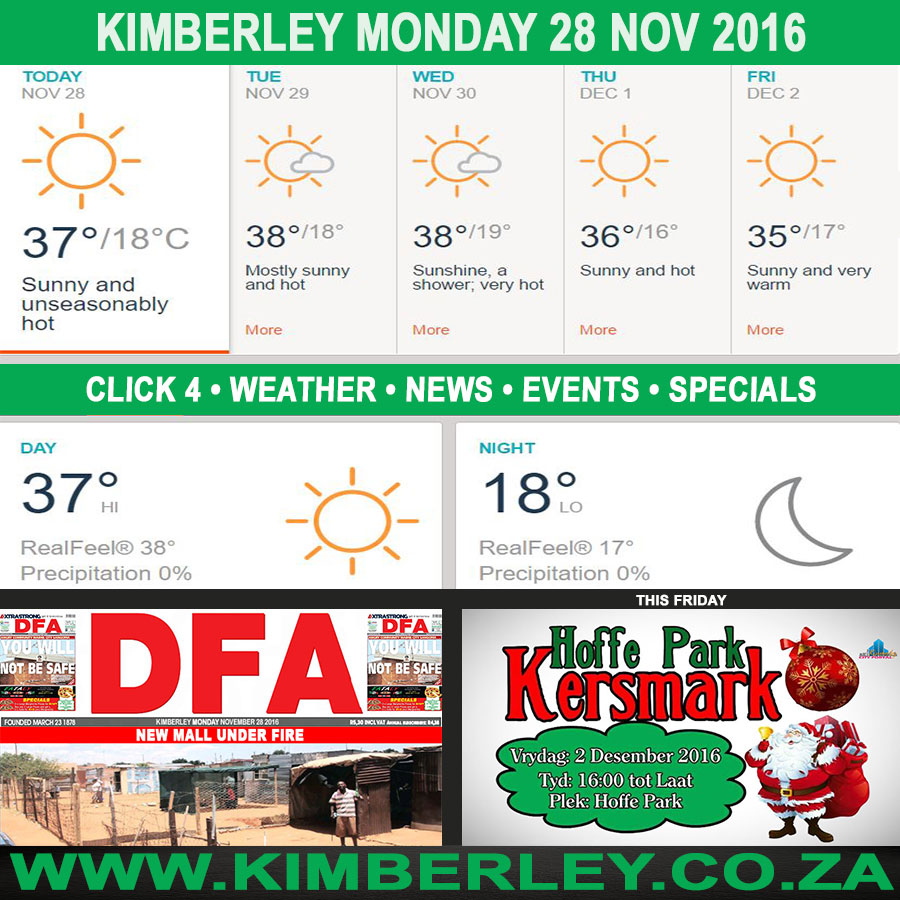 Today in Kimberley South Africa - Weather News Events 2016/11/28