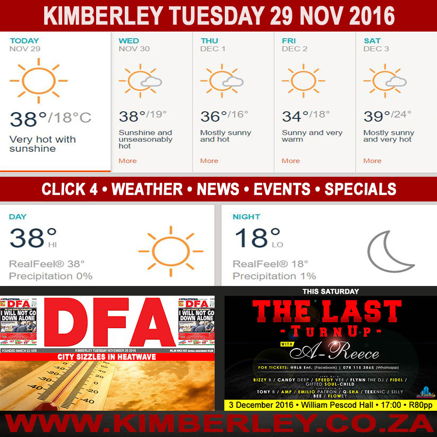 Today in Kimberley South Africa - Weather News Events 2016/11/29