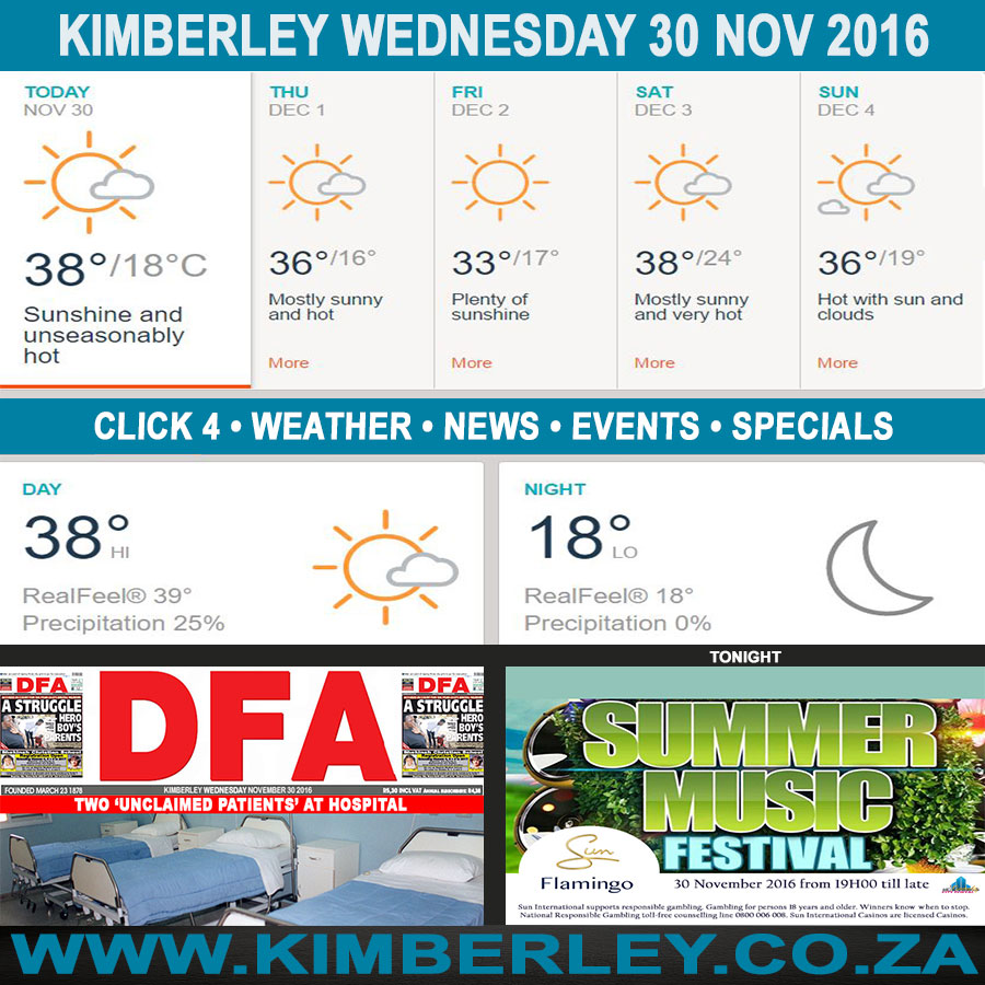 Today in Kimberley South Africa - Weather News Events 2016/11/30
