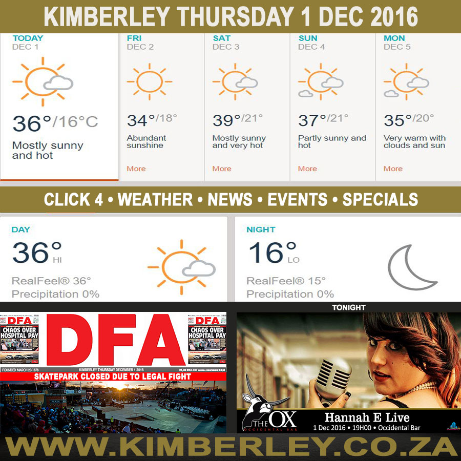 Today in Kimberley South Africa - Weather News Events 2016/12/01