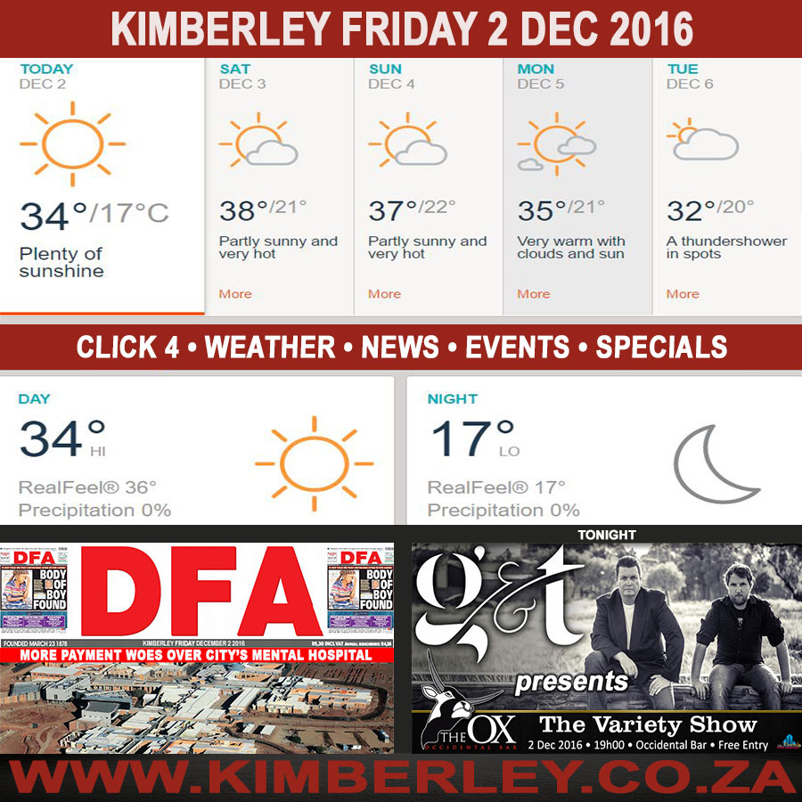 Today in Kimberley South Africa - Weather News Events 2016/12/02