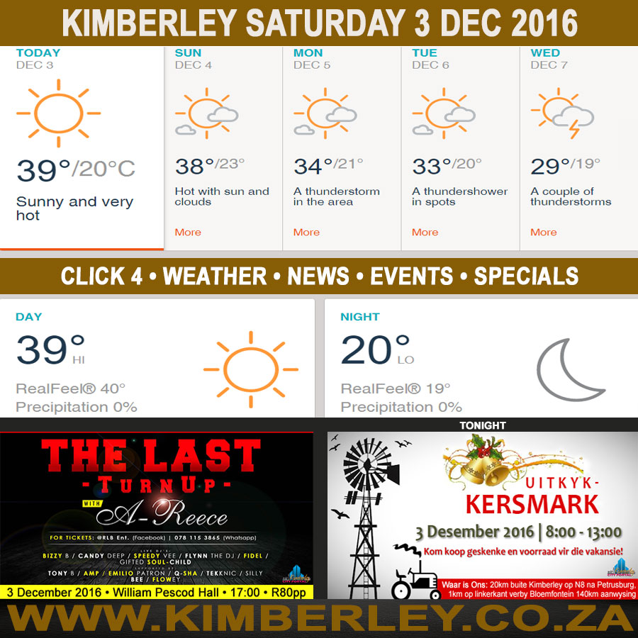 Today in Kimberley South Africa - Weather News Events 2016/12/03
