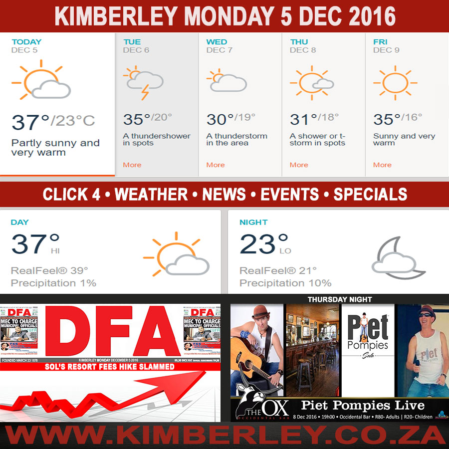Today in Kimberley South Africa - Weather News Events 2016/12/05