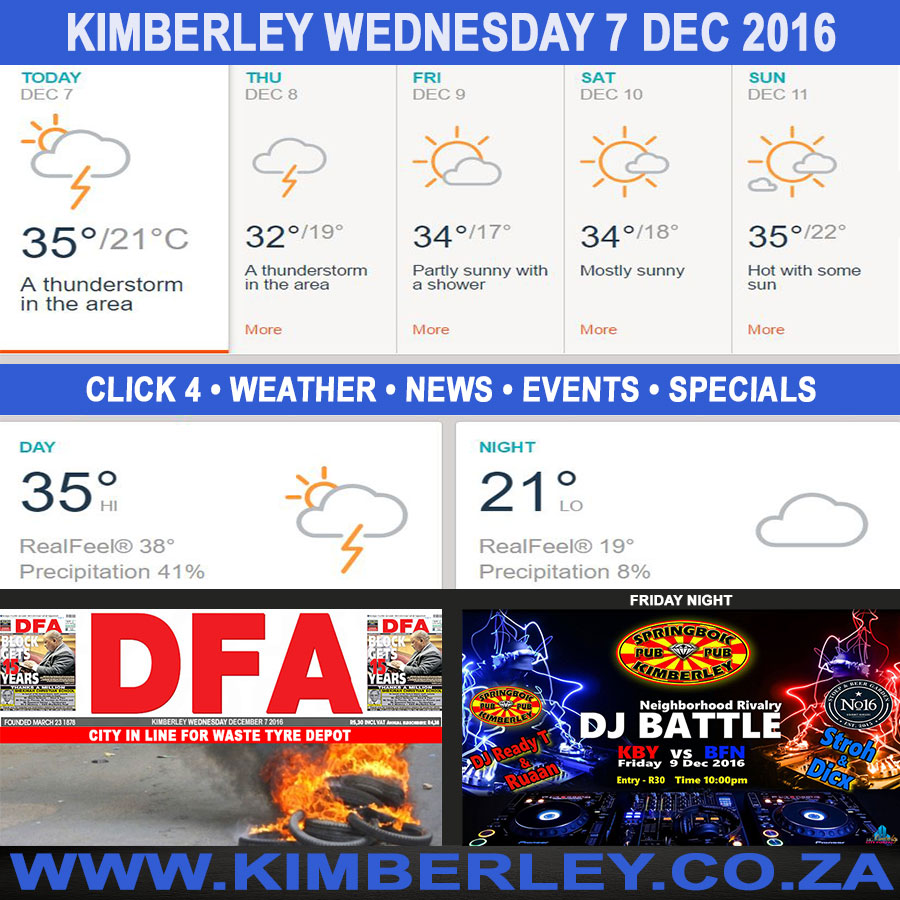 Today in Kimberley South Africa - Weather News Events 2016/12/07
