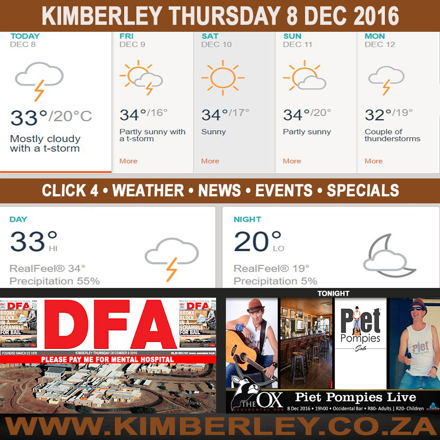 Today in Kimberley South Africa - Weather News Events 2016/12/08