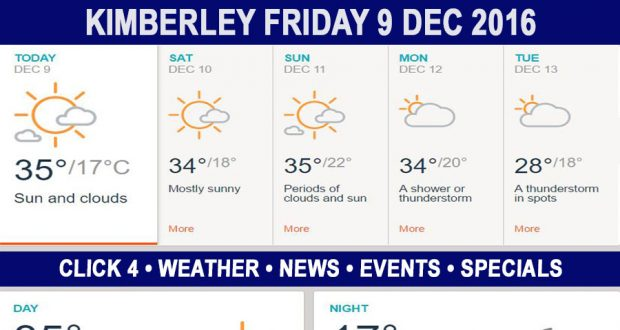 Today in Kimberley South Africa - Weather News Events 2016/12/09