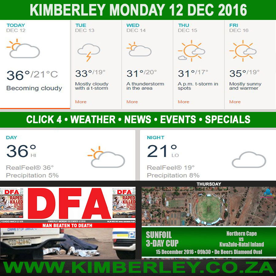 Today in Kimberley South Africa - Weather News Events 2016/12/12