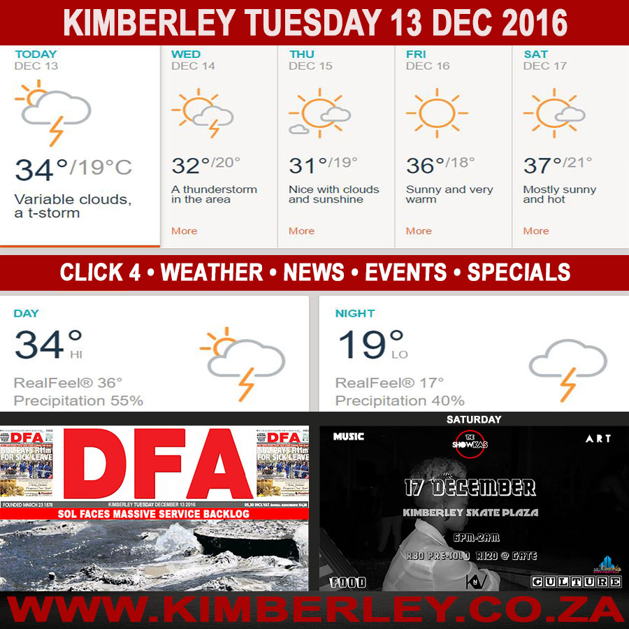 Today in Kimberley South Africa - Weather News Events 2016/12/13