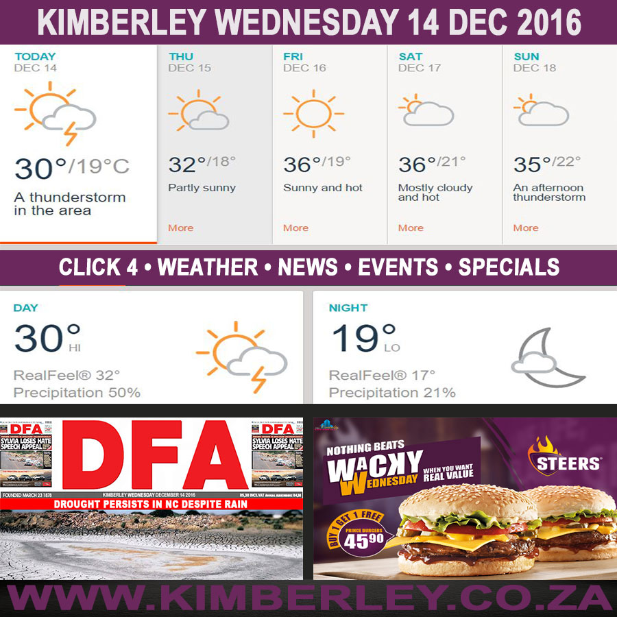 Today in Kimberley South Africa - Weather News Events 2016/12/14