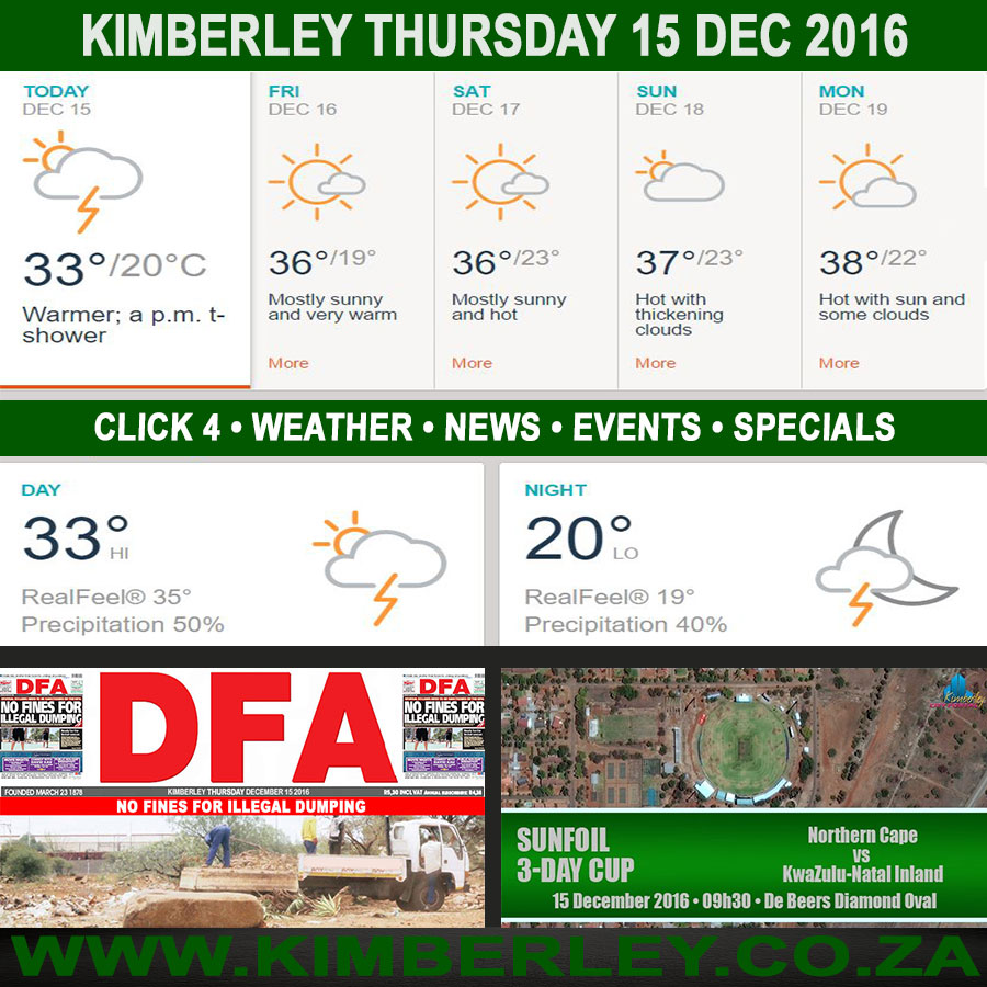Today in Kimberley South Africa - Weather News Events 2016/12/15