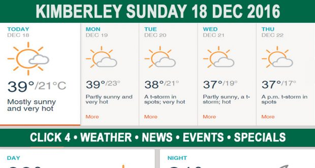 Today in Kimberley South Africa - Weather News Events 2016/12/18
