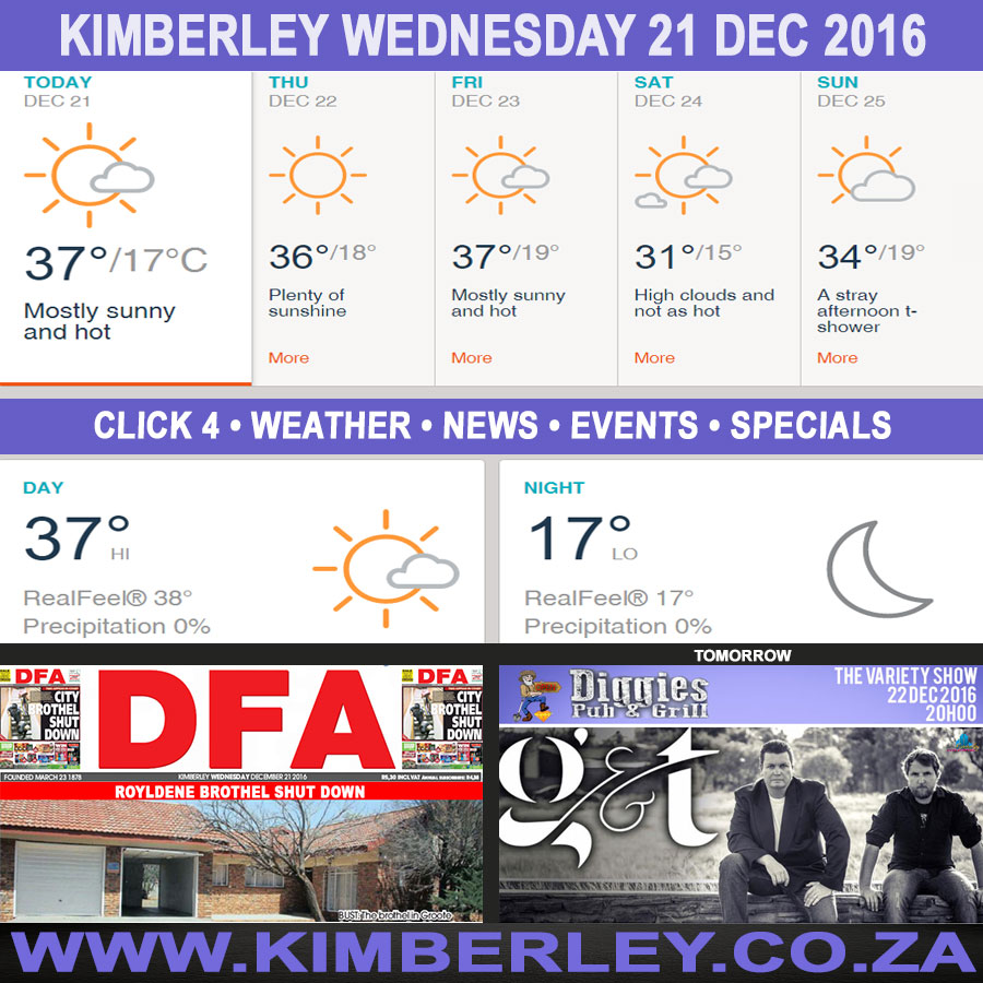 Today in Kimberley South Africa - Weather News Events 2016/12/21