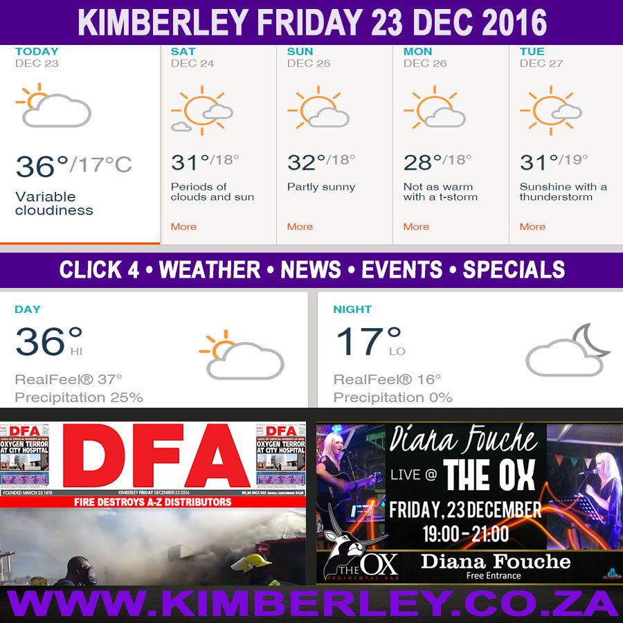 Today in Kimberley South Africa - Weather News Events 2016/12/23