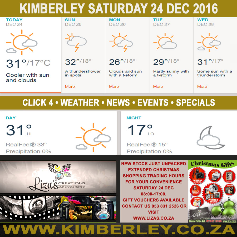 Today in Kimberley South Africa - Weather News Events 2016/12/24