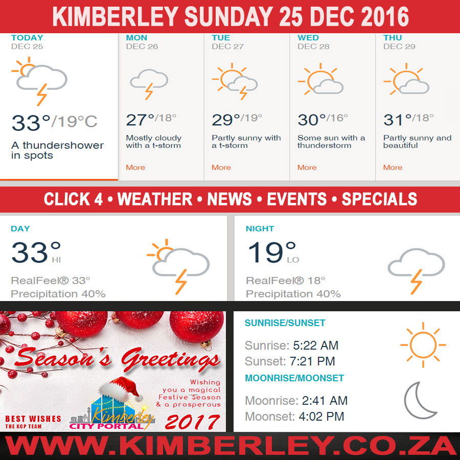 Today in Kimberley South Africa - Weather News Events 2016/12/25