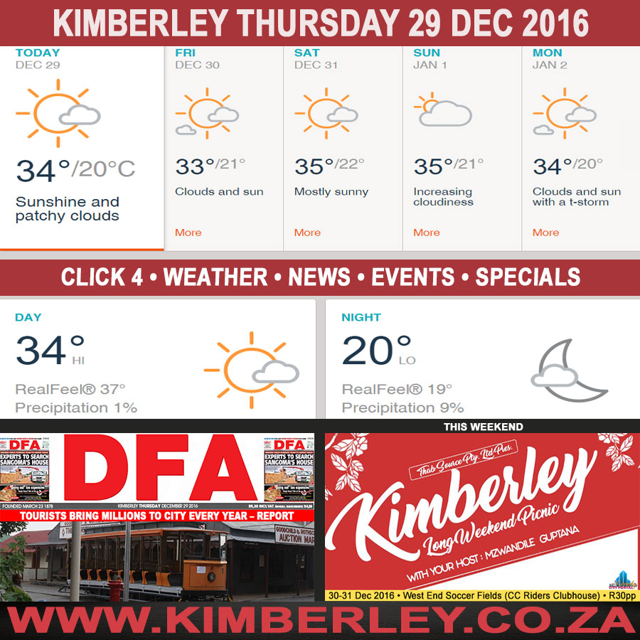 Today in Kimberley South Africa - Weather News Events 2016/12/29