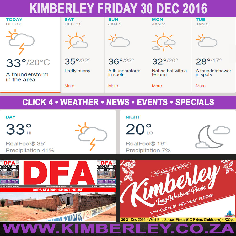 Today in Kimberley South Africa - Weather News Events 2016/12/30