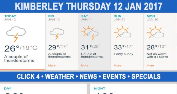 Today in Kimberley South Africa - Weather News Events 2017/01/12