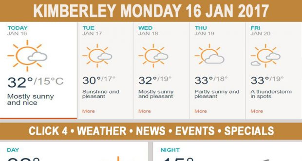 Today in Kimberley South Africa - Weather News Events 2017/01/16