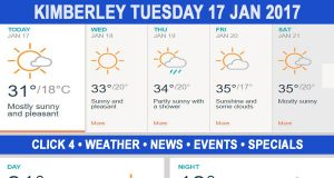 Today in Kimberley South Africa - Weather News Events 2017/01/17
