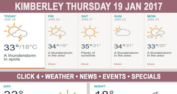 Today in Kimberley South Africa - Weather News Events 2017/01/19