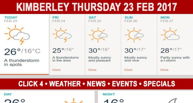 Today in Kimberley South Africa - Weather News Events 2017/02/23