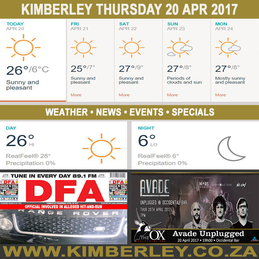 Today in Kimberley South Africa - Weather News Events 2017/04/20
