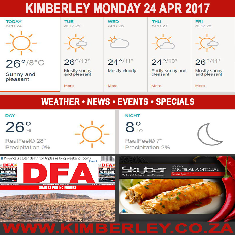 Today in Kimberley South Africa - Weather News Events 2017/04/24