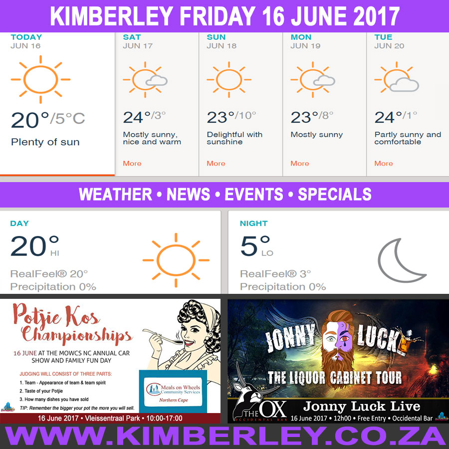Today in Kimberley South Africa - Weather News Events 2017/06/16