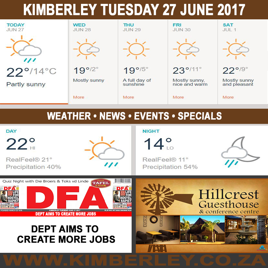 Today in Kimberley South Africa - Weather News Events 2017/06/27
