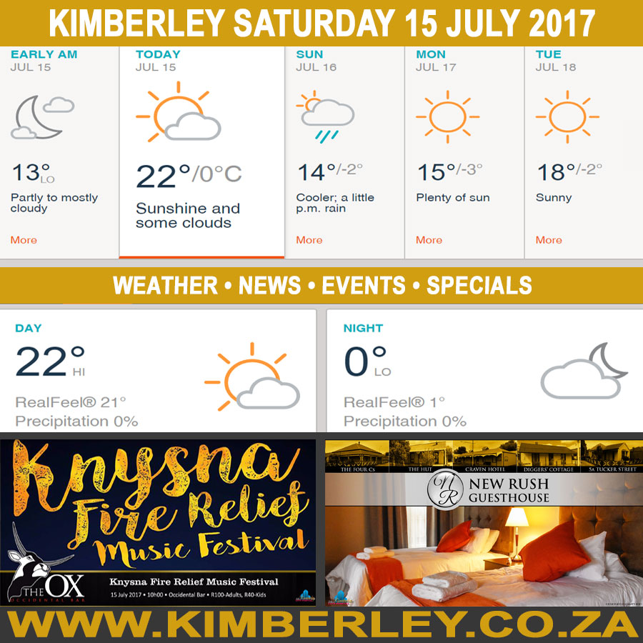 Today in Kimberley South Africa - Weather News Events 2017/07/15