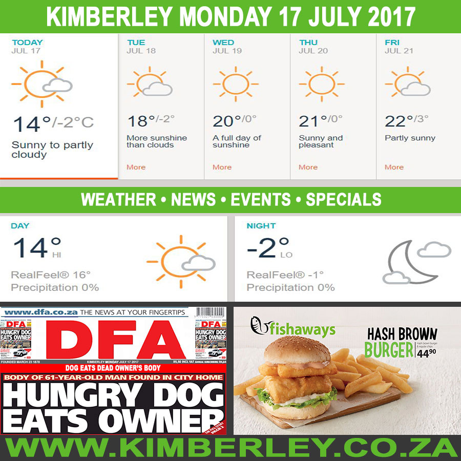 Today in Kimberley South Africa - Weather News Events 2017/07/17