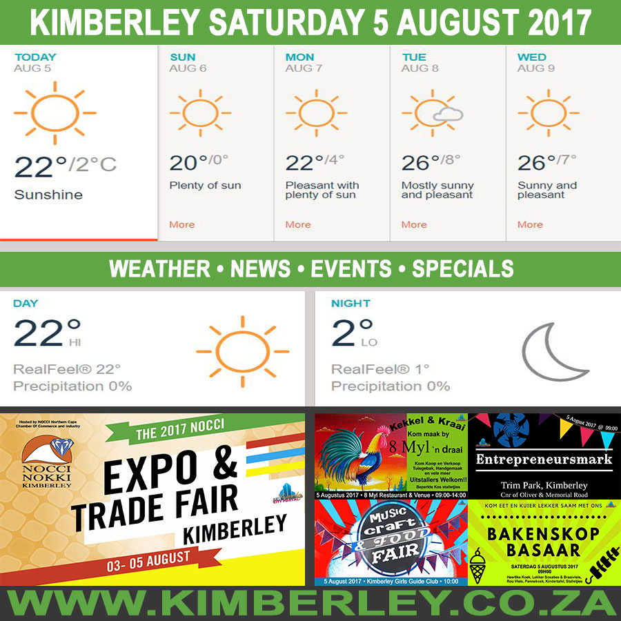 Today in Kimberley South Africa - Weather News Events 2017/08/05