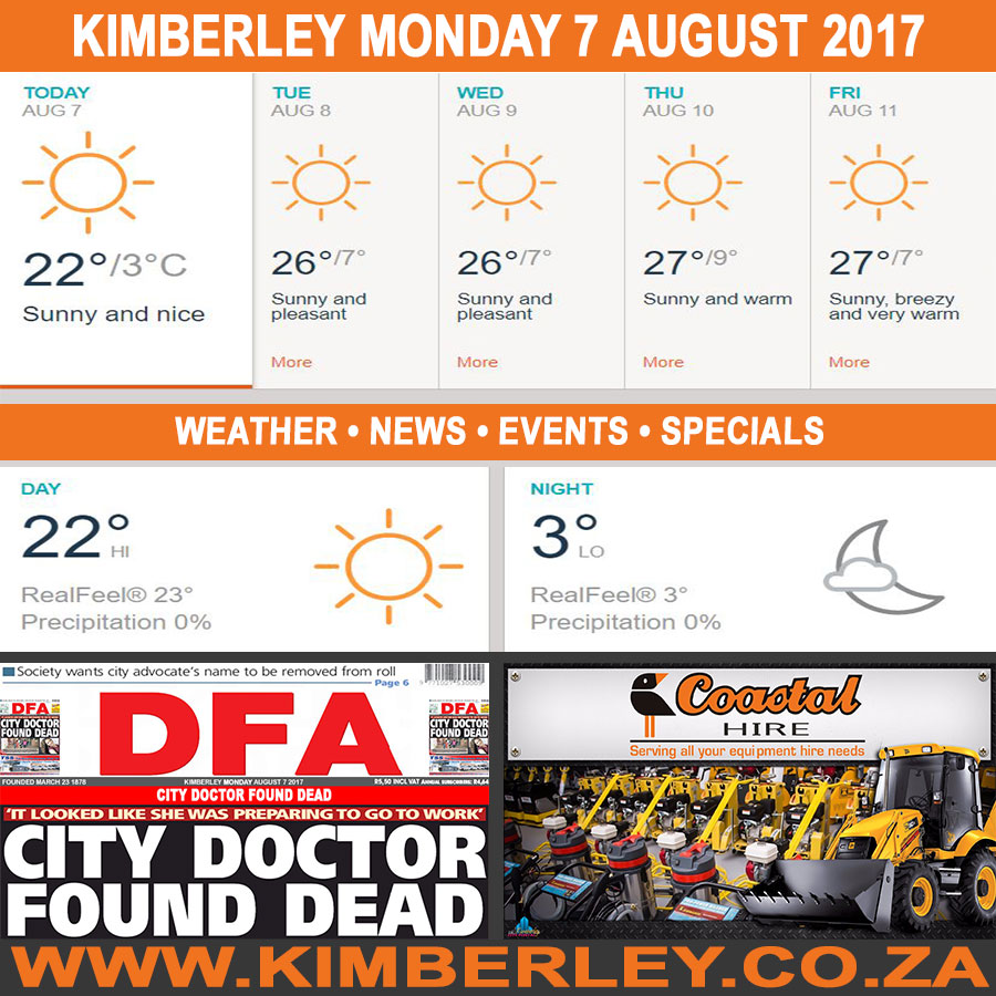 Today in Kimberley South Africa - Weather News Events 2017/08/07