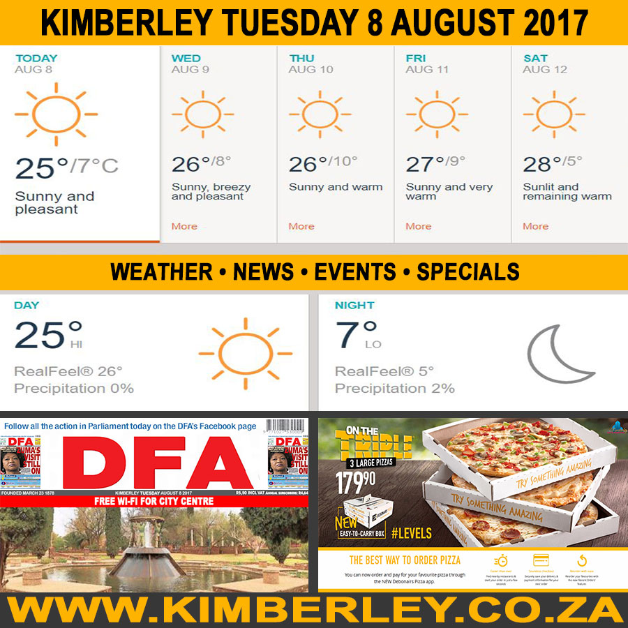 Today in Kimberley South Africa - Weather News Events 2017/08/08