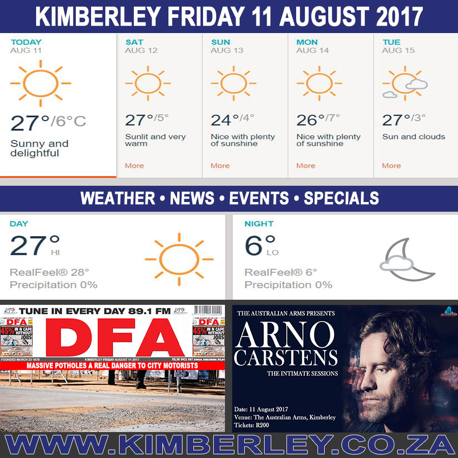 Today in Kimberley South Africa - Weather News Events 2017/08/11