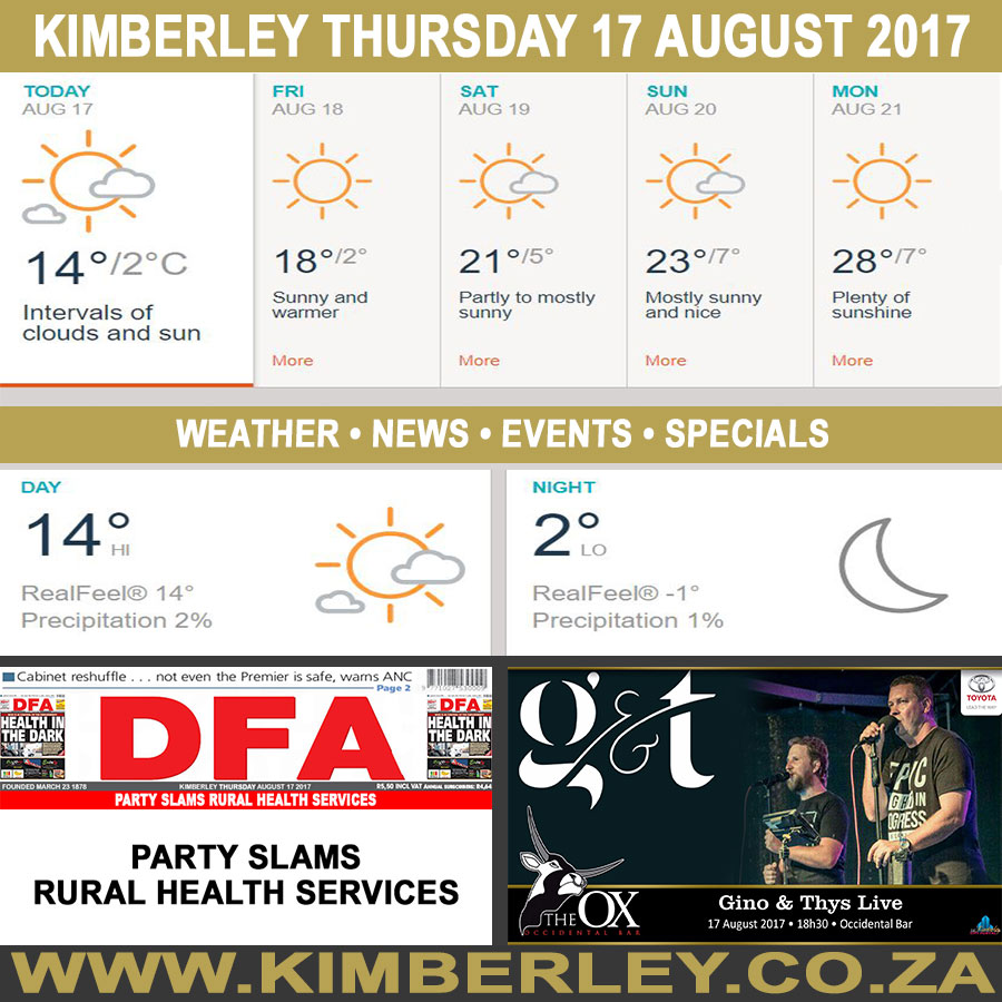 Today in Kimberley South Africa - Weather News Events 2017/08/17