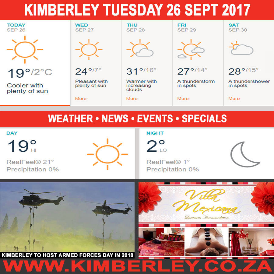Today in Kimberley South Africa - Weather News Events 2017/09/26