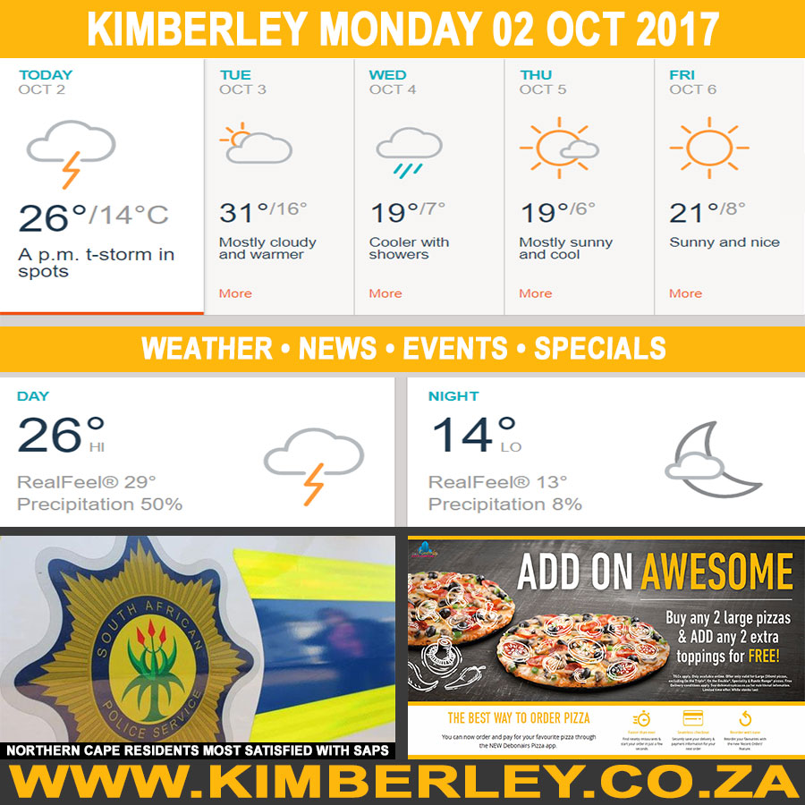 Today in Kimberley South Africa - Weather News Events 2017/10/02