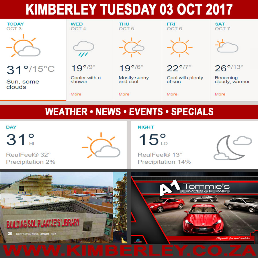 Today in Kimberley South Africa - Weather News Events 2017/10/03