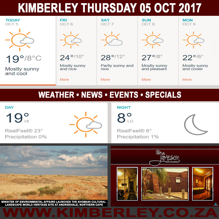 Today in Kimberley South Africa - Weather News Events 2017/10/05